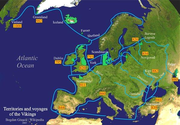 Territorien und Fahrten der Wikinger