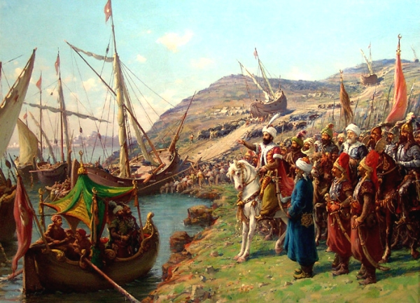Mehmed II befiehlt, die Schiffe über das Land in die Meerengen zu bringen