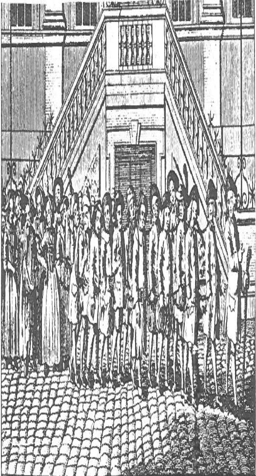 Gruppe von Männern in Ketten, die zum Transport nach Amerika nach Blackfriars geführt werden.