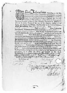 Ein Indenturvertrag von 1683.