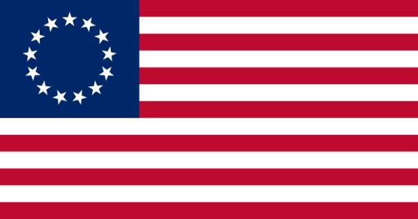 """""""Betsy Ross Flag"""", eine der ab 1777 verwendeten Varianten der US-Flagge mit 13 Sternen (Bild vom Übersetzer eingefügt)"""