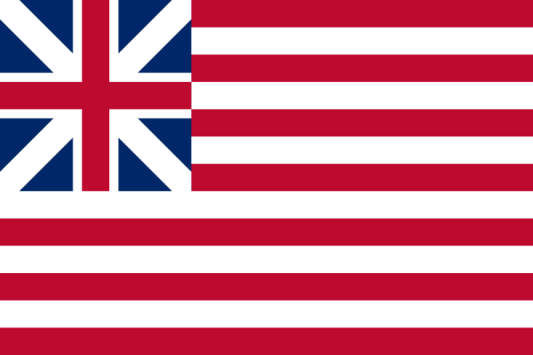 """Erste US-Flagge: """"The Continental Colors"""" alias """"Grand Union Flag"""" von 1776 – 1777 (Bild vom Übersetzer eingefügt)"""