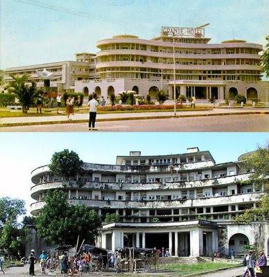 Das Grande Hotel in Beira, Mozambique: Einst ein Luxushotel mit 350 Zimmern und Luxussuiten in elegantem Dekor und einem Schwimmbecken in olympischen Ausmaßen; heute eine Ruine ohne Strom und fließendes Wasser, in der 3500 illegale Bewohner hausen – manche davon schon seit 20 Jahren.