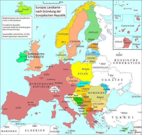 """Die """"Europäische Republik"""" als künftig größter Mitgliedsstaat der EU, wie es sich der ÖVP-nahe Verein """"Nova EUropa"""" für das Jahr 2020 vorstellt. Man beachte: In diesem Superstaat sollen Deutschland, Österreich und die Niederlande aufgehen – zusammen mit sämtlichen PIGS sowie den anderen Problemländern Frankreich, Belgien und Slowenien."""
