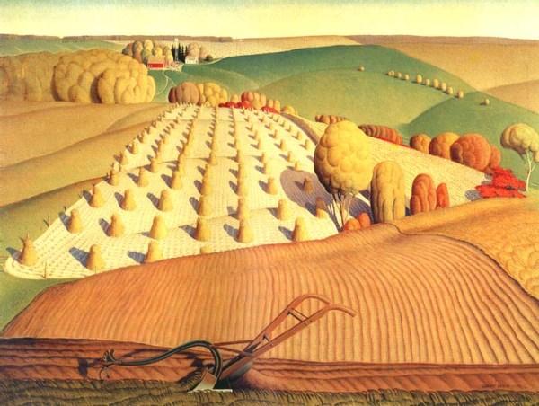 "Grant Wood, ""Fall Plowing"" (""Pflügen im Herbst""), 1931"