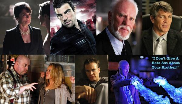 "Die Schurken von ""Heroes"" (im Uhrzeigersinn): Angela Petrelli, Sylar, Mr. Linderman, Mr. Thompson, Mr. Flint, ""The German"", ""Puppenspieler"" Eric Doyle."
