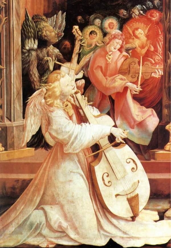 """Matthias Grünewald, """"Engelskonzert"""" (Detail), 1515"""