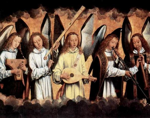 MEMLING, Hans (b. ca. 1440, Seligenstadt, d. 1494, Bruges) Angel Musicians (left panel) 1480s Oil on wood, 165 x 230 cm Koninklijk Museum voor Schone Kunsten, Antwerp The picture shows one of the fragments of a religious polyptych by Memling, Christ Surrounded by Musician Angels. The carefully ordered and simple composition depicts Christ as Sovereign of the World, giving His blessing, with three singing angels on either side. The two other panels contain five angels playing musical instruments: psaltery, tromba marina, lute, trumpet and oboe (left-hand panel), bassoon, trumpet, portative organ, harp and viol (right-hand panel). Heaven is suggested by the glowing clouds which run from the left across to the right-hand panel. These panels are fragments of a polyptych, now largely lost, which once stood on the high altar of the Benedictine church of Santa Maria la Real in Nájera, Spain. --- Keywords: -------------- Author: MEMLING, Hans Title: Angel Musicians (left panel) Time-line: 1451-1500 School: Flemish Form: painting Type: religious