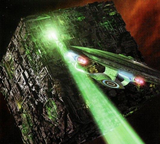 Die Enterprise-D im Kampf gegen ein Würfelraumschiff der Borg.