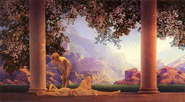 """""""Daybreak"""", eines von Maxfield Parrishs bekanntesten Bildern, wenn nicht das bekannteste."""