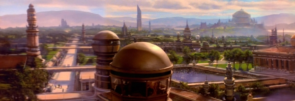 Stadtpanorama auf Bajor.