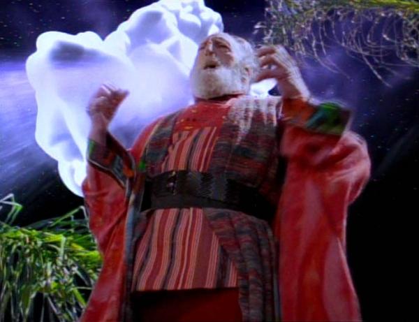 """Bajoranischer """"Rabbi"""": der alte Sirah und das Wolkenmonster Dal'Rok."""