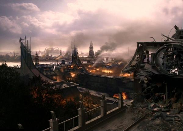 Cardassia am Ende des Dominion-Krieges: eine Trümmerlandschaft aus brennenden Ruinen.