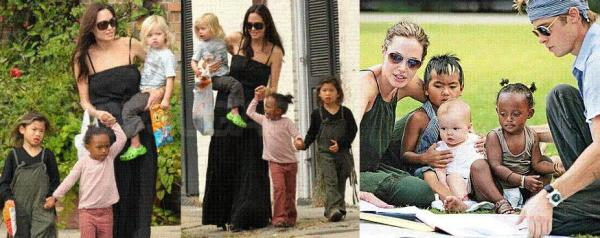 Angelina Jolie mit ihrer Familie.