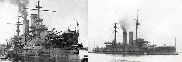 """Das russische Schlachtschiff """"Borodino"""" 1904 in Kronstadt (links) und Admiral Togos Flaggschiff """"Mikasa"""" (rechts)"""