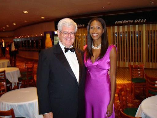 """Keli Goff (""""Weiße Pornoschauspielerinnen sind Rassistinnen"""") mit dem Ex-Kongressabgeordneten Newt Gingrich (Republikaner, Ga.)"""