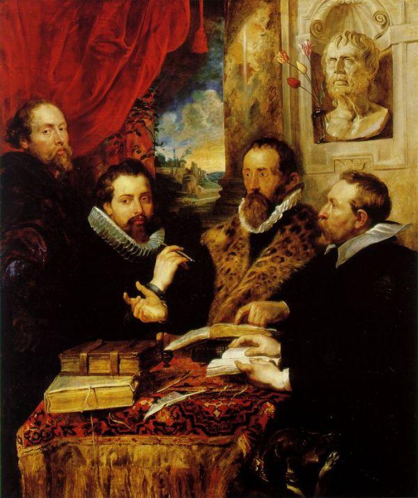 """Peter Paul Rubens: """"Die vier Philosophen"""", mit einer Büste von Seneca, 1611-1612"""