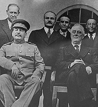 Stalin, Roosevelt und Amtsträger der Sowjetunion und der Regierung