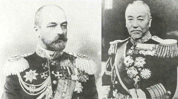 Admiral Sinov Roschdestwenskij (links) und Admiral Heihachiro Togo