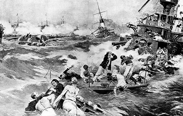 """Der Untergang des russischen Linienschiffs """"Borodino"""" bei Tsushima in der Darstellung des Zeichners Mantania."""