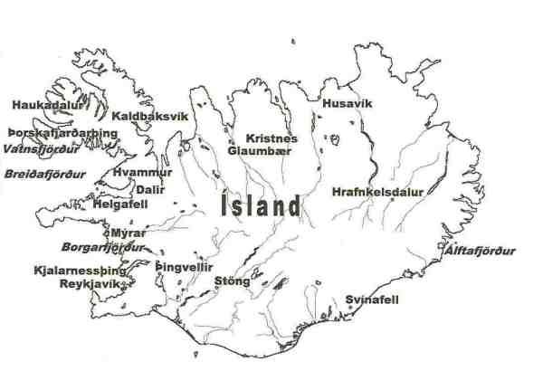 Karte der in diesem Artikel erwähnten Orte auf Island