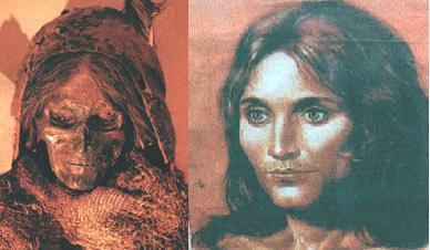 """Mumie und Rekonstruktion der """"Schönheit von Loulan"""", die vor 4.000 Jahren in China lebte."""