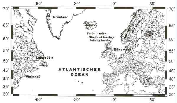 Karte des westlichen Wikingergebiets