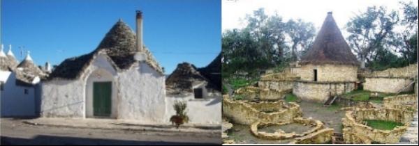 """Links Trulli-Siedlung in Apulien/ Italien – rechts: Siedlung des """"Wolkenvolkes"""" in den Anden."""