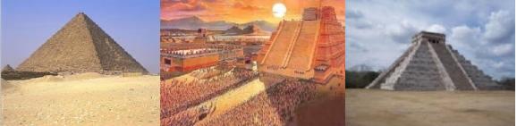 Von links nach rechts: Pyramide der Ägypter, Azteken und Mayas.