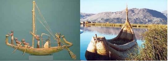 Links: ägyptisches Schilfboot – rechts: Schilfboot der Inkas.