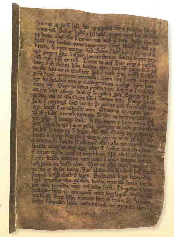 """Eine Seite der Lieder-Edda aus dem Codex Regius, geschrieben in Island im späten 13. Jahrhundert. Abgebildet sind Verse aus dem Hávamál, """"Des Hohen Lied""""."""