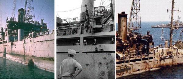 """Schäden an der """"Liberty"""" nach dem Überfall; man beachte das Torpedoloch auf dem linken Bild und die Einschläge von Maschinenkanonen auf dem mittleren."""