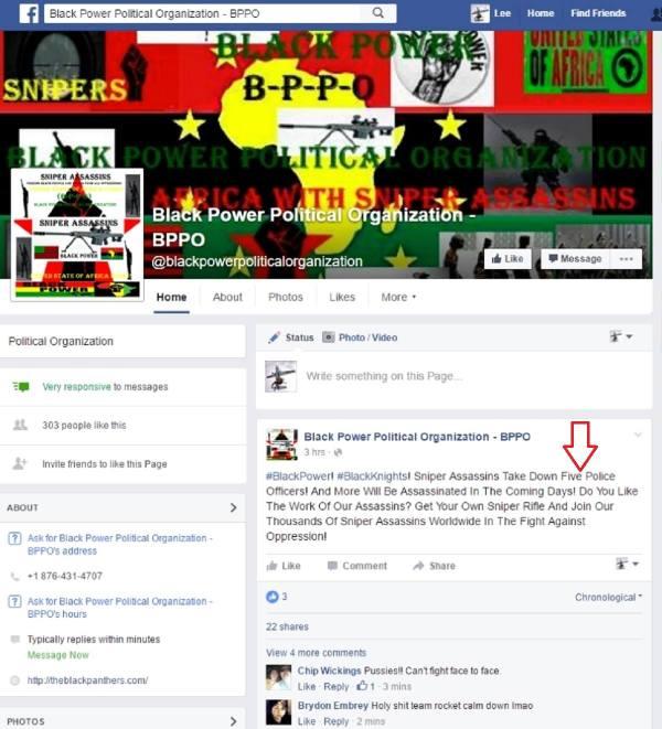 Ein Teil der Facebookseite der BPPO.