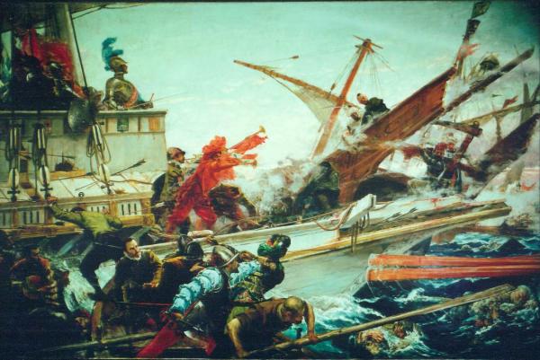Die Schlacht von Lepanto, die von Spanien und den italienischen Staaten gegen die osmanischen Türken ausgefochten wurde.