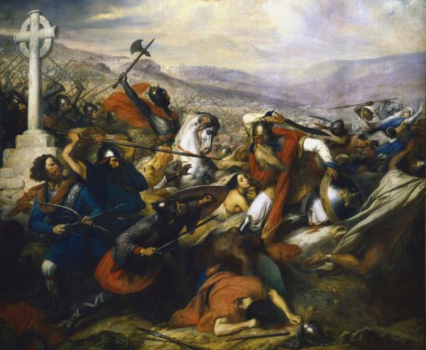 Die Schlacht von Tours, ausgefochten vom fränkischen Königreich gegen den Islamischen Staat in Spanien und im Maghreb.