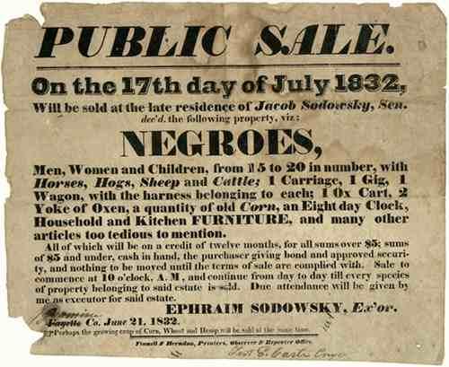 Verkaufsannonce von Sklaven durch Sodowsky, 1832.