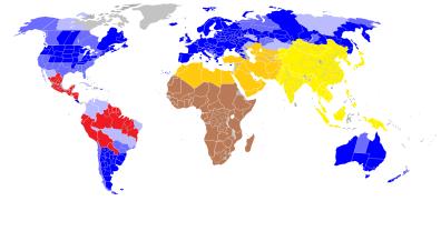 Legende: blau: Weiße; braun: Neger; gelb: Asiaten; orange: Araber, Semiten, Turkvölker; rot: Mestizen/ Latinos – die Karte stellt dar, in welchen Ländern welche Rasse derzeit die Mehrheitsbevölkerung stellt.
