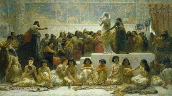 """""""The Babylonian Marriage Market"""" (""""Der babylonische Heiratsmarkt""""), von Edwin Long (1829-1891). Es gibt zu viele junge Männer auf dem Partnerschaftsmarkt, besonders in der weißen amerikanischen Gemeinschaft."""