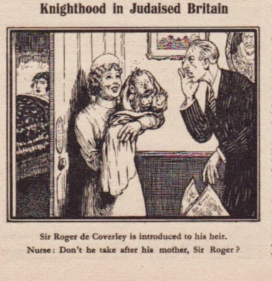 """Rittertum im judaisierten Britannien - Sir Roger de Coverley wird sein Erbe vorgestellt. Krankenschwester: """"Kommt er nicht nach seiner Mutter, Sir Roger?"""""""
