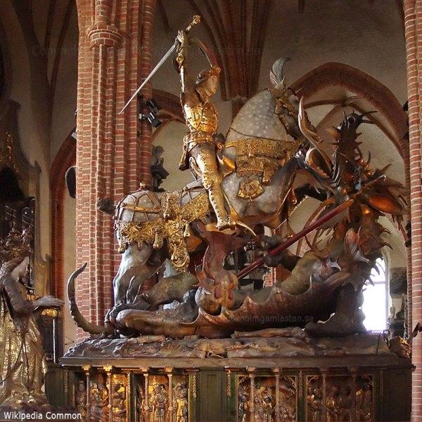 """""""St. Georg mit dem Drachen kämpfend"""" von Bernt Notke im Stockholmer Dom."""