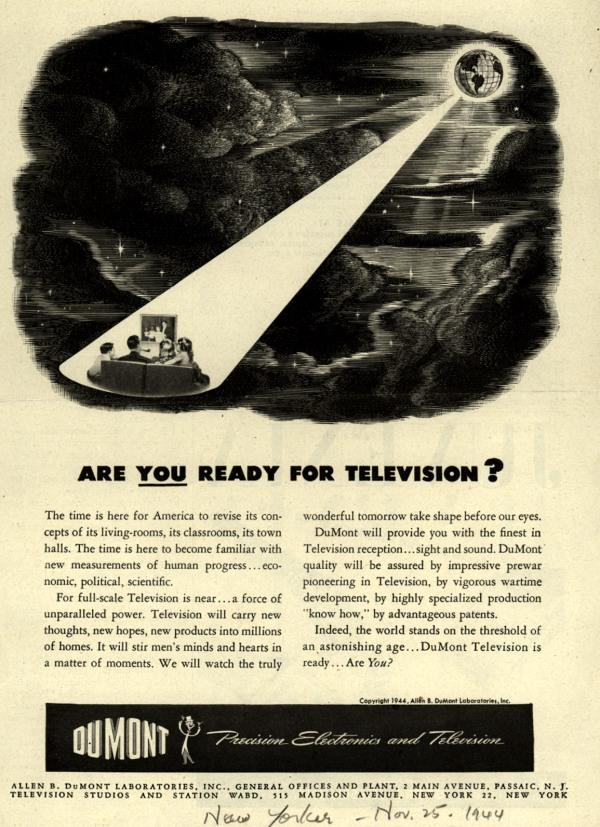 """""""Sind Sie bereit für das Fernsehen?"""" DuMont Labs, 1944."""