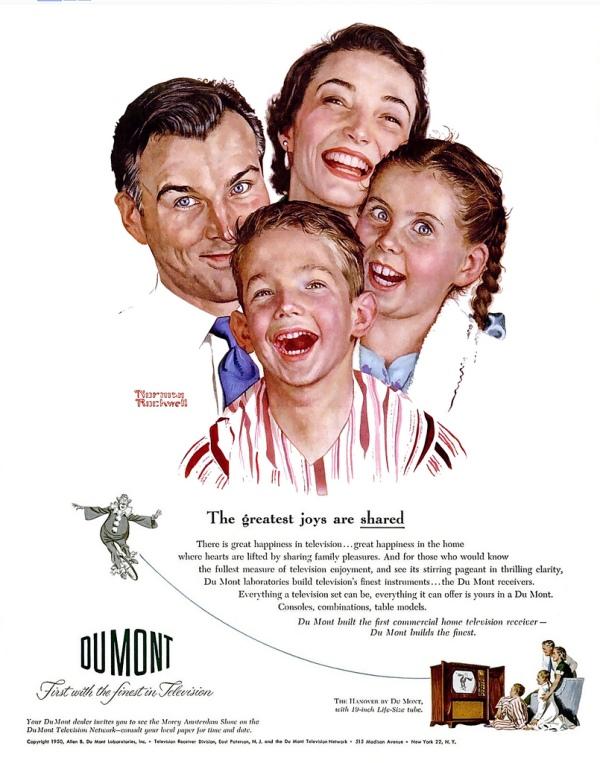 """Werbung für DuMont mit Norman Rockwell: """"Die größten Freuden sind die geteilten Freuden."""""""
