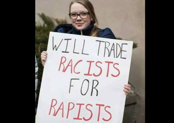 """""""Tausche Rassisten gegen Vergewaltiger"""""""