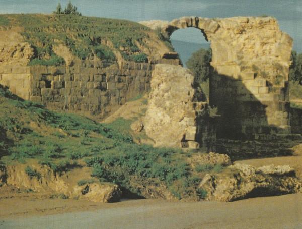 Ruine der Römerbrücke über den Medjerda-Fluß bei Chemtou. Ein Brückenblock diente als Widerlager für eine Getreidemühle. Gestautes Flußwasser trieb dort drei Turbinen an.