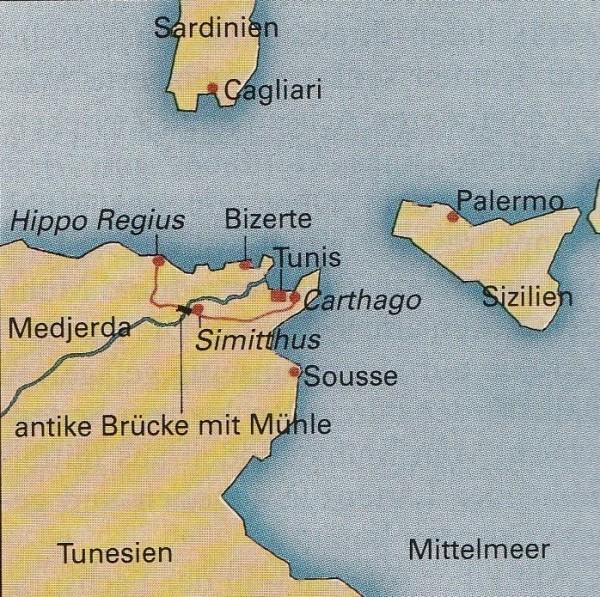 Nordafrika: einst römisch. Über die im Titelbild gezeigte Römerbrücke bei Simitthus (heute: Chemtou) führte ein Handelsweg zum Mittelmeer. Er kreuzte die Straße von Karthago nach Hippo Regius (heute: Annaba, Algerien).