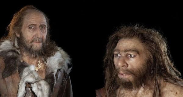 Cro-Magnon-Mensch (links) und Neandertaler.