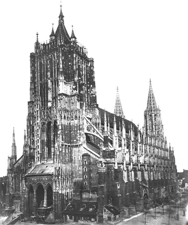 …und hier im Jahr 1887 mit neugotischen Strebebögen und Chortürmen.