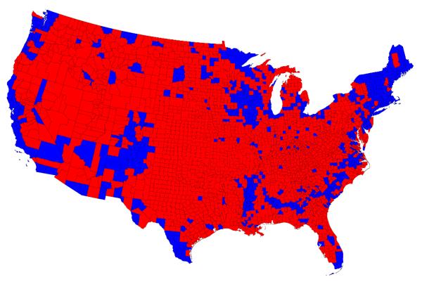 Wahlergebniskarte der US-Präsidentschaftswahl von 2012 nach Counties.