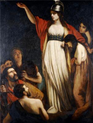 """John Opie, """"Boadicea hält den Briten eine Predigt""""; vor 1807"""