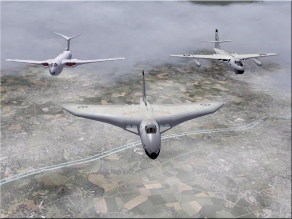 Die V-Bomber: Avro Vulcan (vorne), Handley-Page Victor (links hinten) und Vickers Valiant (rechts hinten).